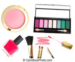 Collection of different professional make up products top view.