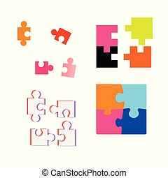 Collection of different  puzzle pieces. Vector illustration
