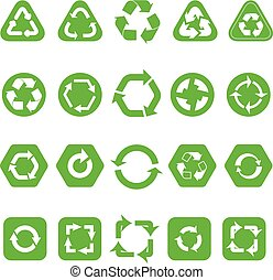 Collection of different recycle icons isolated on white