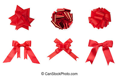 Collection of different red colored bows