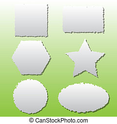 Collection of different shape paper tears