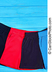 Collection of different short pants for kids.