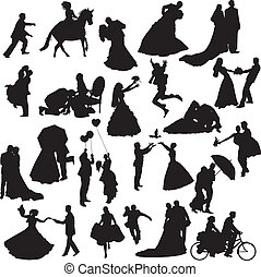 collection of different silhouettes of wedding couples in different situations