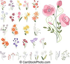 Collection of different stylized flowers isolated on white