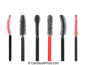 collection of different types of brushes for mascara on isolated white background
