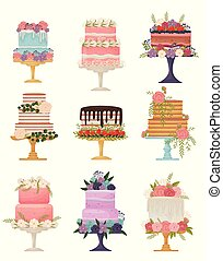 Collection of different types of cakes on a stand. Vector illustration on white background.