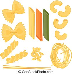 Collection of different types of pasta. Vector illustration