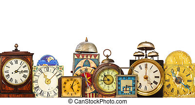 Collection of different vintage table clocks