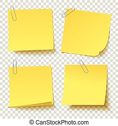 Collection of different yellow sticker with paper clip attached