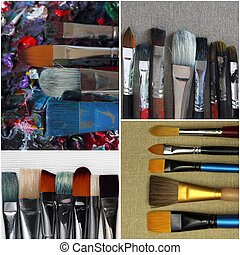 collection of dirty paint brushes