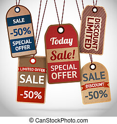 Collection of discount cardboard sale labels vector...