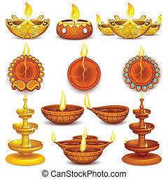 Collection of Diwali Decorated Diya - illustration of...