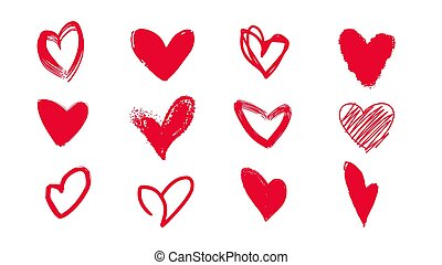Collection of doodle hearts for Valentine's Day.