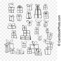 Collection of doodle sketch christmas gift boxes