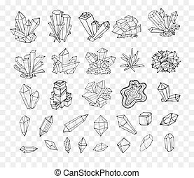 Doodle sketch crystals. Collection of minerals