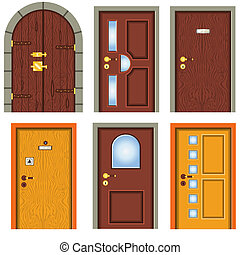 Collection Of Doors - Collection of six illustrated...