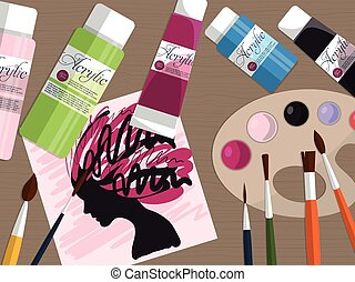 Collection of drawing tools and acrylic paints on the table. Vector