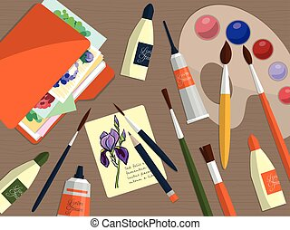 Collection of drawing tools and folder with papers on the table. Vector