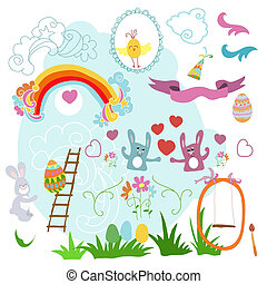 Collection of drawings Easter on a white background