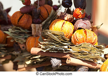 collection of dried fruit, vegetables and spices at the fair