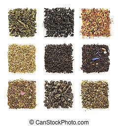 Collection of dry tea isolated on a white background