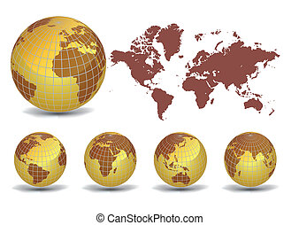 Collection of earth globes