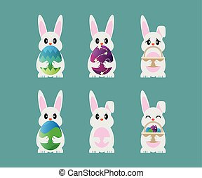 Collection Of Easter Bunny Template Vector