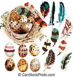 Collection of Easter eggs feathers and nest in realistic style vector illustration.eps