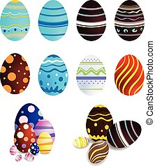 Collection of easter eggs for decoration, on white background,