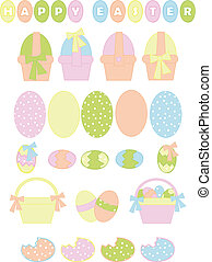 collection of easter eggs in pastel