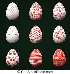 Collection of Easter eggs with red patterns isolated on a dark green background.
