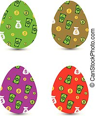 Collection of easter monetary eggs, with dollar pattern, cartoon on white background,