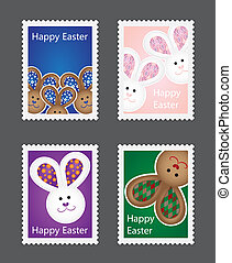 Collection of Easter stamps with bunnies