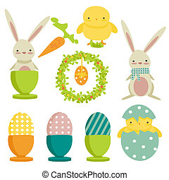 collection of easter theme icons