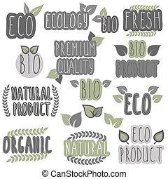 Collection of eco and bio labels, badges. Ecology theme.