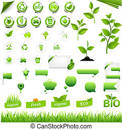 Collection Of Eco Elements, Isolated On White Background,...