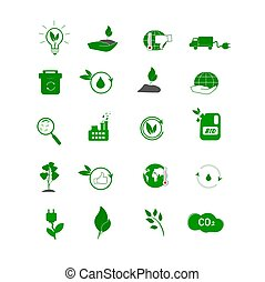 Collection of eco icons.