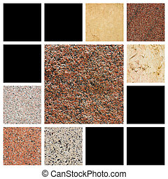 The samples of egyptian granite and marble.