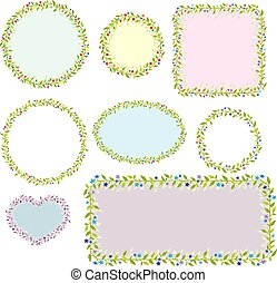 Collection of eight floral frames. Vector images.