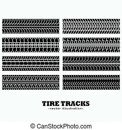 collection of eight tire tracks marks