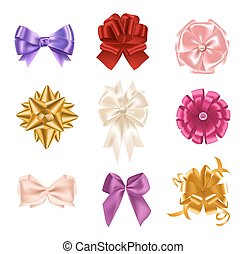 Collection of elegant colorful realistic silk bows of different types isolated on white background. Set of beautiful holiday decorative elements, shiny festive gift decorations. Vector illustration.