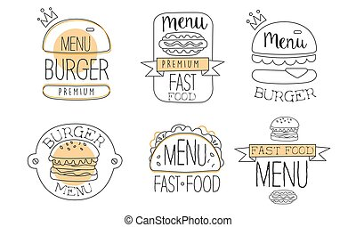 Collection of emblems for burger. Vector illustration.