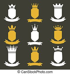 Collection of empire design elements. Heraldic royal coronet illustration. Set of luxury vector shields with king crown and undulate festive ribbon.