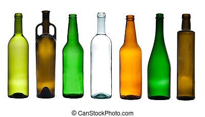 Collection of empty glass bottles