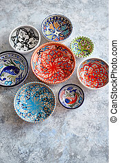Collection of empty moroccan colorful decorative ceramic...