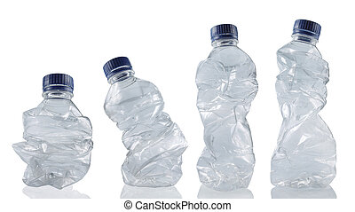 collection of empty used plastic bottles - set of empty used...