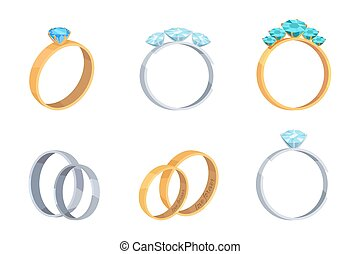Collection of Engagement Rings with Precious Stone