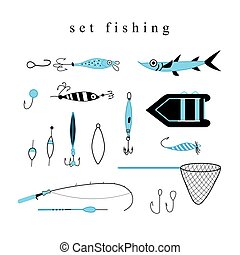 Collection of equipment and hooks for fishing