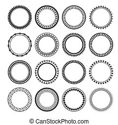 Collection of ethnic borders. Round frames isolated on white bac