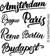Collection of european capitals Amsterdam, Berlin, Paris, Rome, Prague, Budapest.